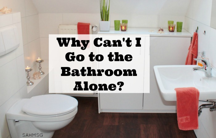 "Have you asked yourself this question since becoming a mom: ""Why can't I go to the bathroom alone?"" I have...among many other questions moms are very familiar with when parenting."