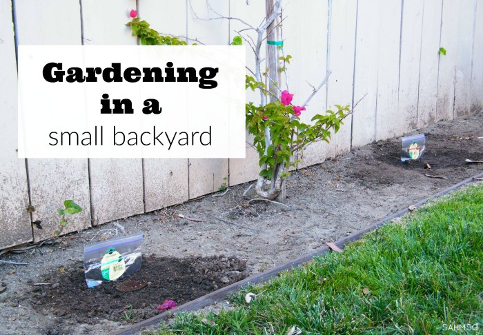 Gardening in a small backyard made simple with tips and tools..including ideas for simple DIY waterproof garden signs, and tips for gardening with kids. #ad
