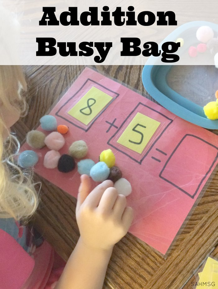 Explore addition with a hands-on addition busy bag for practicing addition concepts, counting and number identification for children in kindergarten or as young as preschool. Adaptations included for younger children.