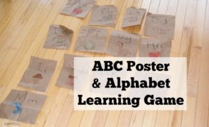 Easy ABC poster and alphabet learning game activity for preschool and toddlers.