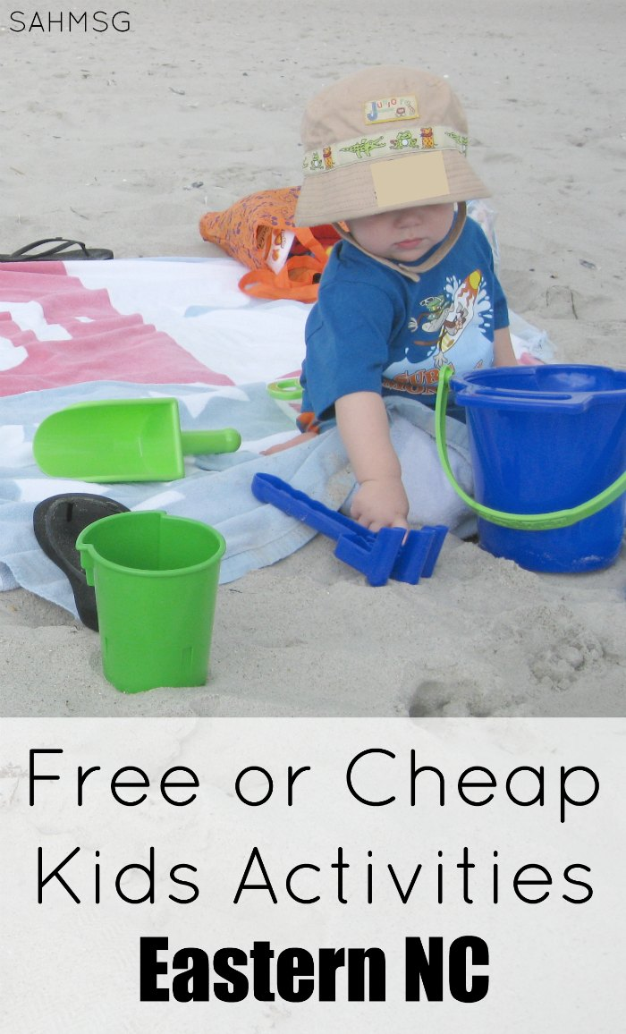 Save this collection of free or cheap kids activities in eastern North Carolina. There are so many family friendly, affordable activities for kids in coastal NC. Follow the series of Free or Cheap Kids Activities by location.