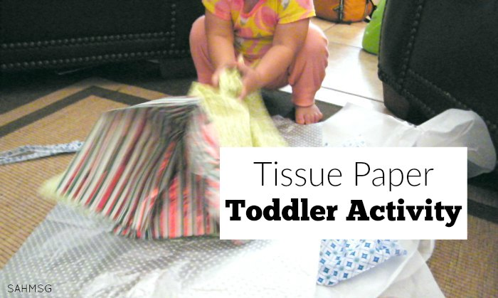 Toddler activity that only requires tissue paper for a fun sensory baby play game.