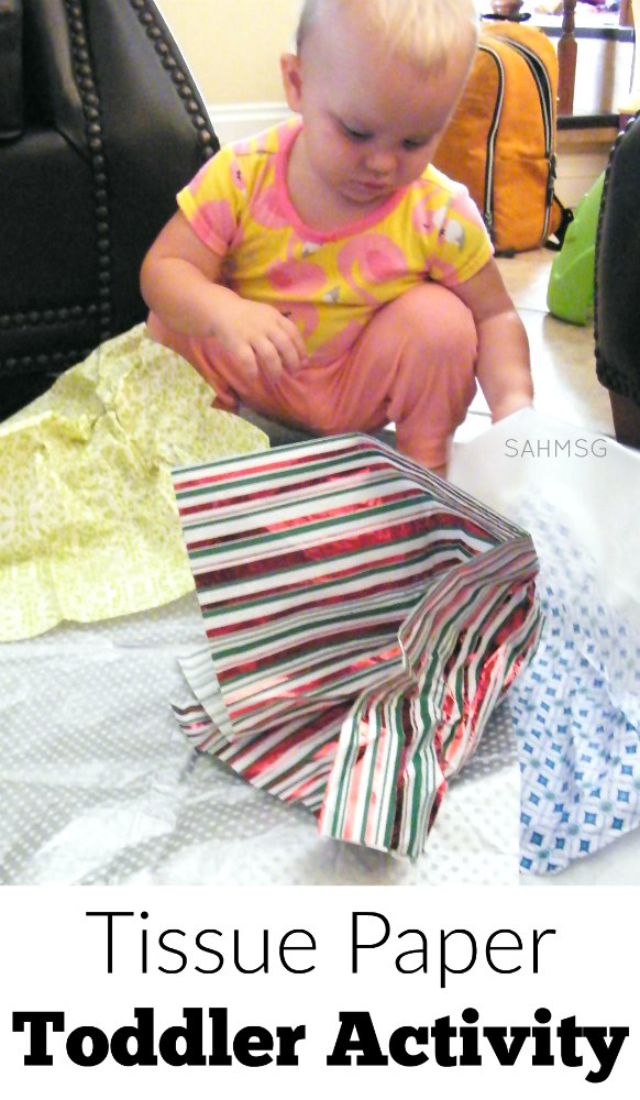 Toddler activity with tissue paper is a simple and fun one item activity for kids.