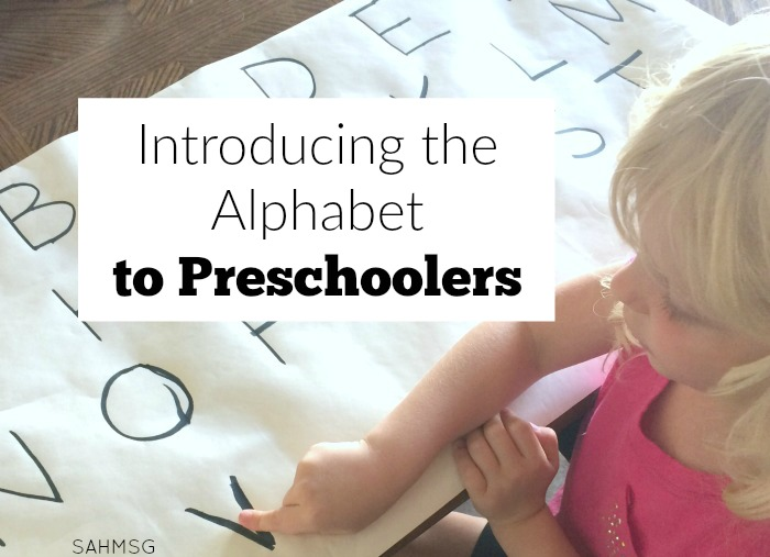 To start our preschool at home curriculum, we did a review of the alphabet or introduction of the alphabet letters-upper and lower case.