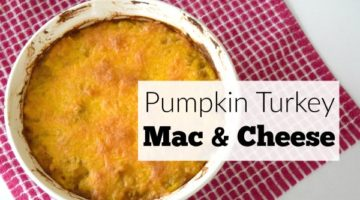 Pumpkin Turkey Mac and Cheese recipe. Great for using Thanksgiving leftovers.