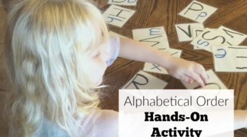 Alphabetical order hands-on activity to teach preschoolers about the alphabet. Great for preschool at home.