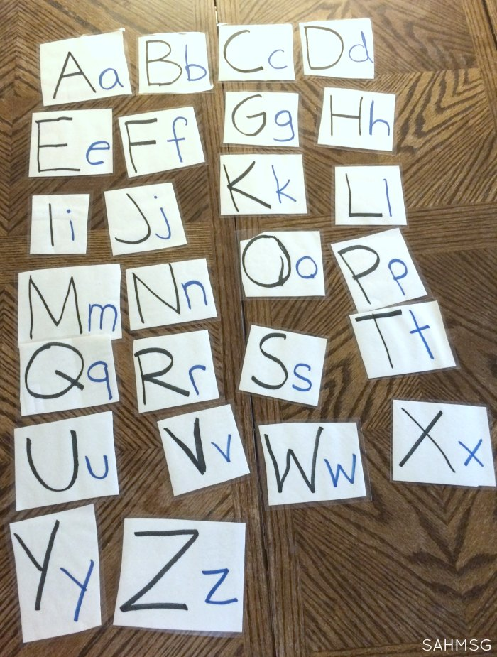 Alphabetical order hands-on activity for preschool at home. Preschool activities made from simple, free supplies are the best!