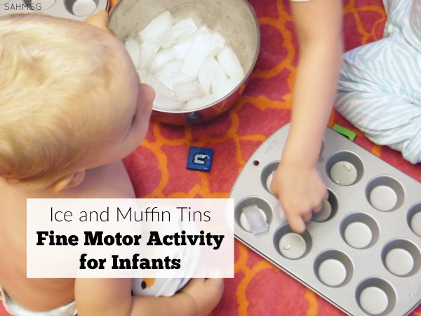 Ice and muffin tin fine motor and sensory activity for infants that is a quick one to put together and clean up.