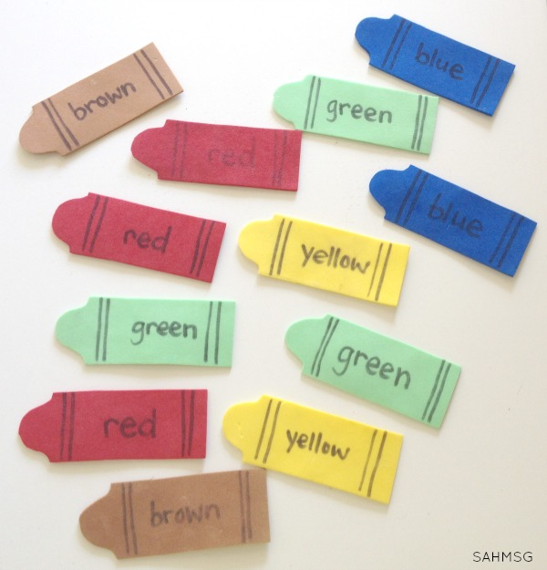 Crayon color sorting activity for toddlers at home.