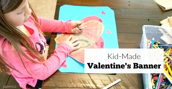 Valentine's banner crafts that kids can make! This is such a fun art expression activity that teaches scissor skills and fine motor skills too. It's a fun kids activity for Valentine's.