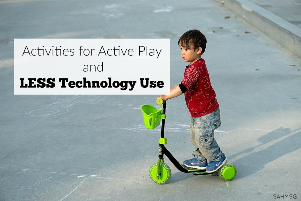 I want my kids to get outside, move and have fun with active play activities and less technology use. This is my go-to list for this Summer so we all get outside more, and stare at screens less.
