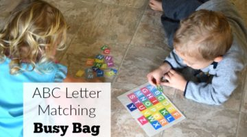 Fun ABC letter matching busy bag for preschool. Great preschool at home activity.