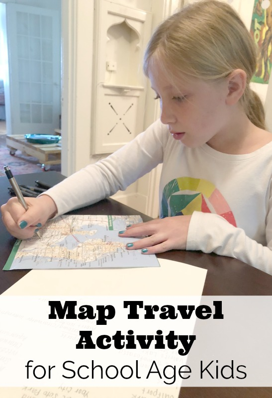 Map travel activity for school age kids to help learn map reading skills and keep them occupied on a road trip.