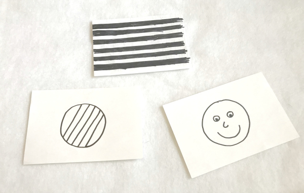 Make your own DIY contrast cards for babies to encourage infants visual stimulation and sensory activity.