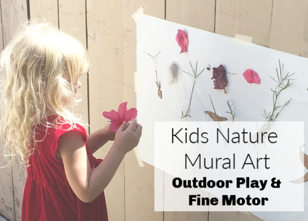Kids nature mural art for outdoor play, fine motor practice and multiple age groups.