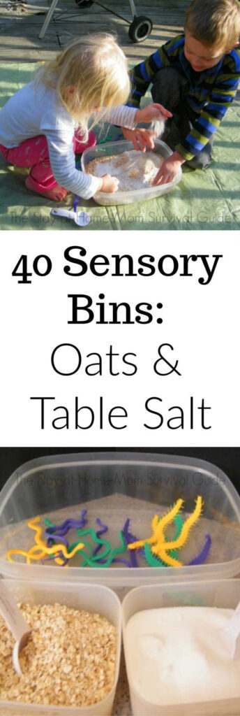 40 days of sensory bin fillers: oats and table salt sensory play idea.