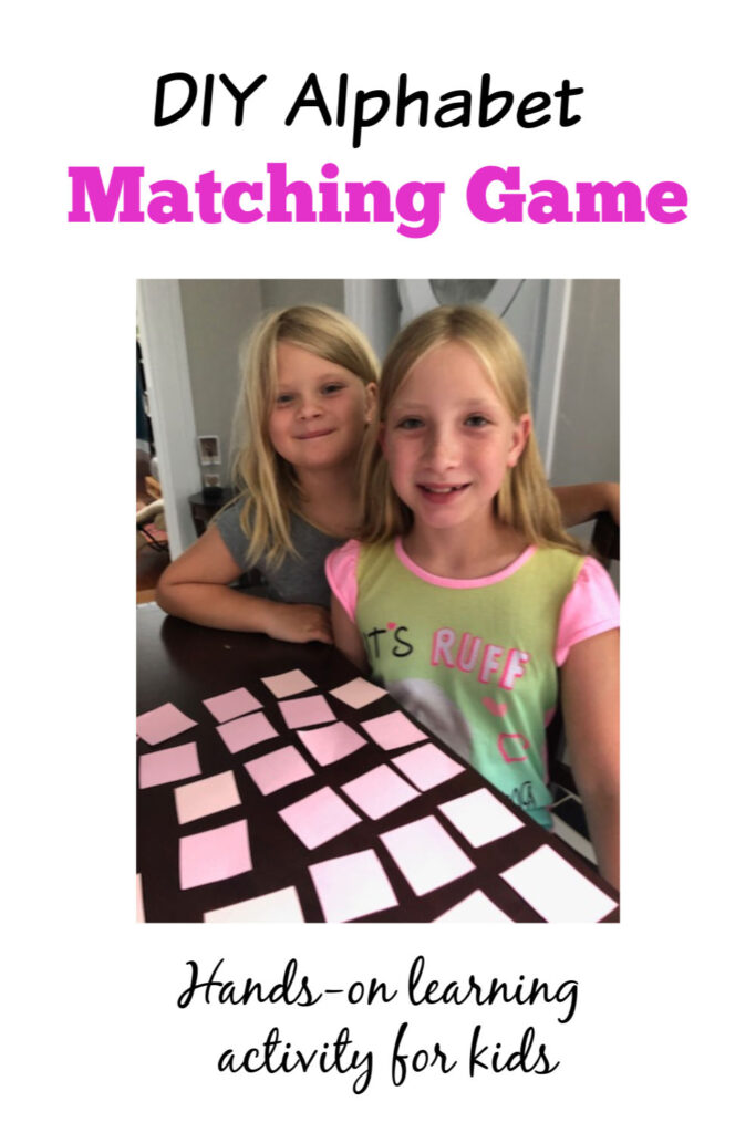 DIY alphabet memory game that is so simple and quick to make! Great for learning letters.