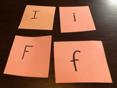 DIY Alphabet Memory Game activity for kids learning uppercase and lowercase letters.