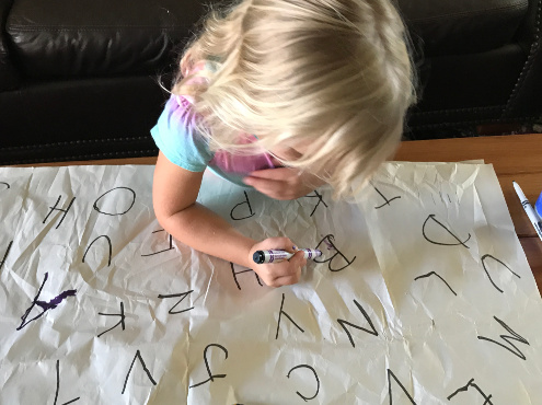 ABC Letter Learning activity for preschool kids preparing for kindergarten.