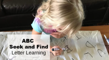 ABC seek and find letter learning activity for preschool to help preschoolers get prepped for kinderarten.