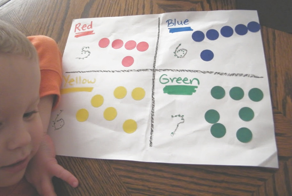 Color sorting and learning activity for preschool age kids that teaches color names, fine motor skills and sorting skills.