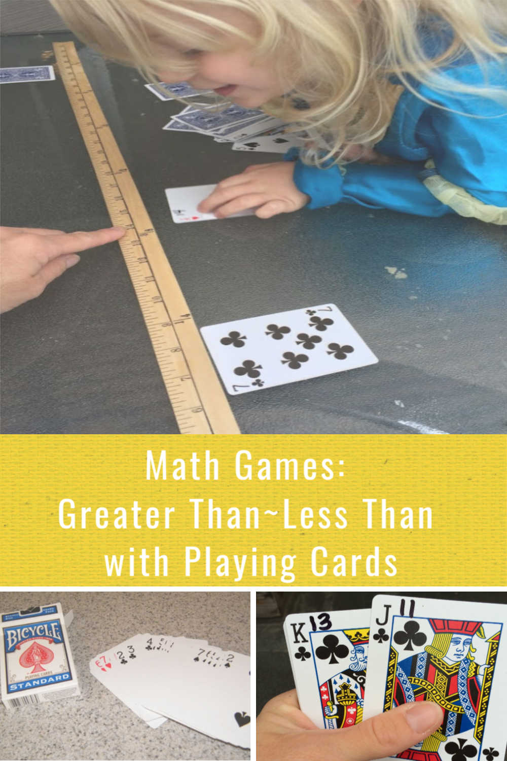 Learning greater than less than with playing cards builds number sense and math skills with a hands-on activity for kindergarten and early elementary age kids.