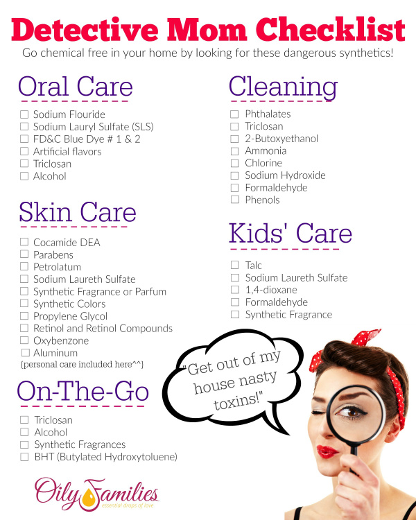DIY Toxin Checklist. Identify the toxins to live a more natural lifestyle with these simple steps to a natural lifestyle.