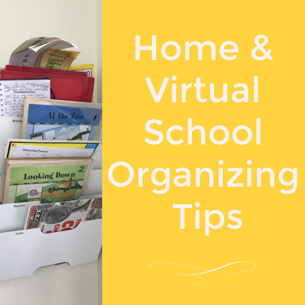 Homeschool organization tips for home or virtual school. Contain the chaos of homeschool curriculum with these simple ideas.