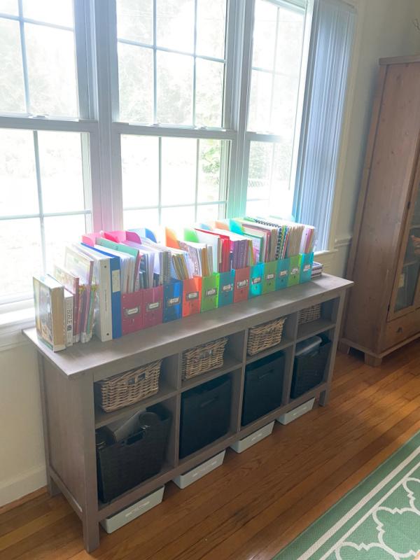 Organization tips for containing homeschool curriculum. Homeschool organization tips that work for virtual school too.