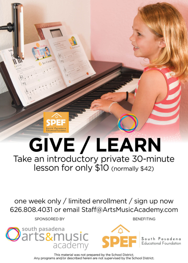 South Pasadena Arts and Music Academy online virtual music lessons sale.