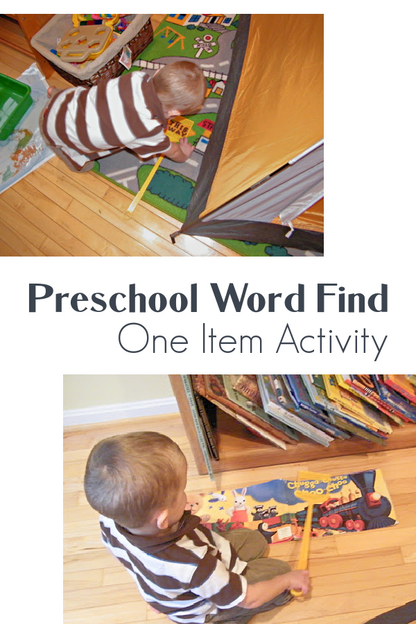 Preschool word find at home activity for preschoolers.