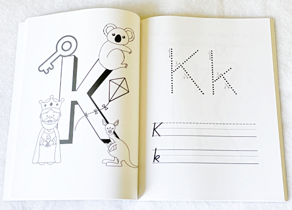 Handwriting workbook for kids that teaches handwriting skills and phonics.